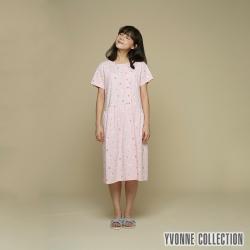 YVONNE 小花印花不對稱開襟短袖洋裝-淺粉