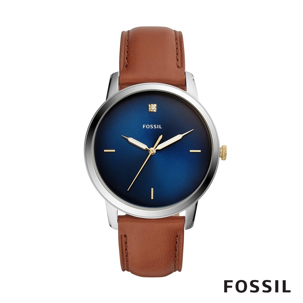 FOSSIL MINIMALIST 咖啡色皮革極簡風格男錶 44mm FS5499