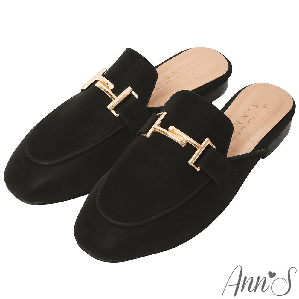 Ann'S自由態度-不破內裡金色雙T扣霧面皮革穆勒鞋-黑(版型偏小)