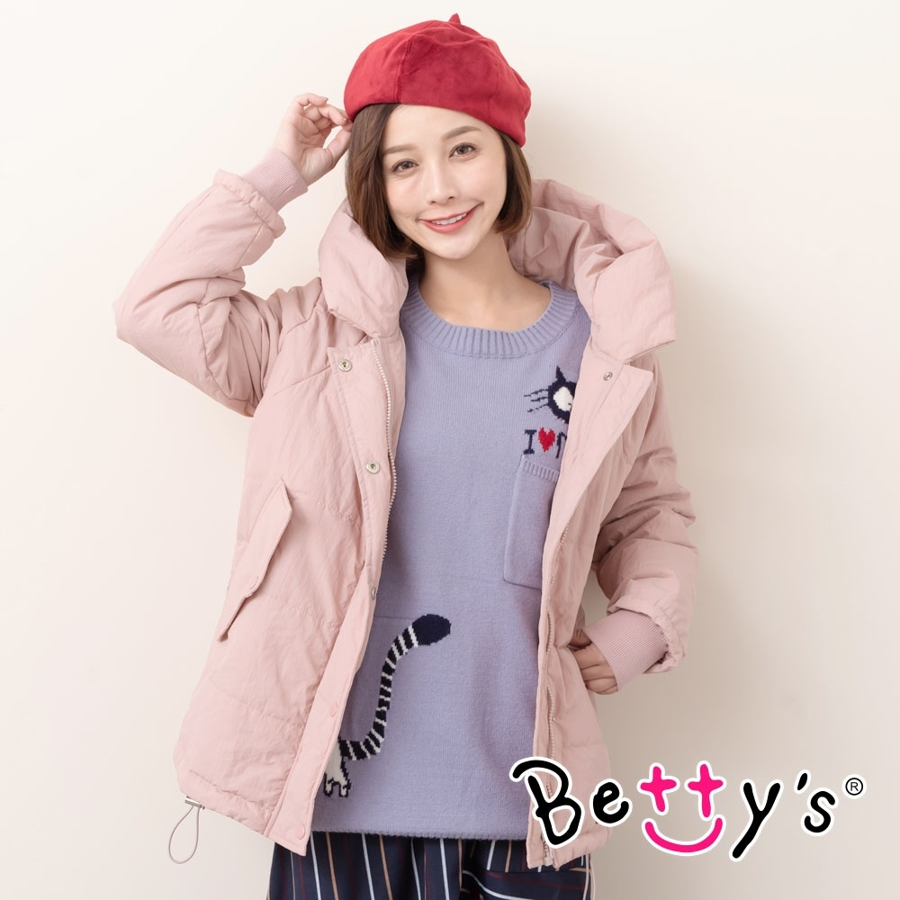 betty's貝蒂思 連帽貓耳鋪棉外套(粉色)