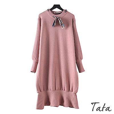 緞帶荷葉針織洋裝 共三色 TATA