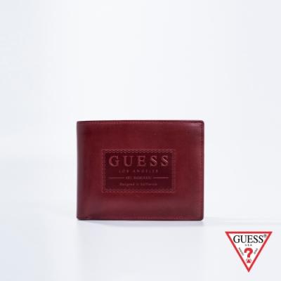 GUESS-男夾-極簡壓印皮革短夾-紅棕