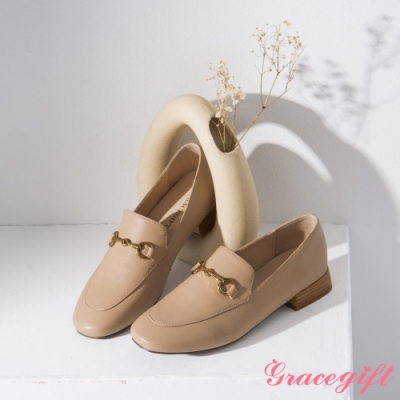 Grace gift-微方頭馬銜鍊樂福鞋 杏