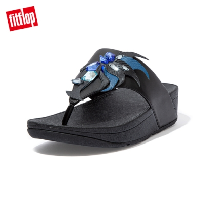 FitFlop OLIVE CRYSTAL FEATHER TOE POST SANDALS 羽毛裝飾夾腳涼鞋 女(靚黑色)