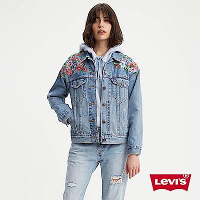 Levis 女款 牛仔外套 花朵刺繡