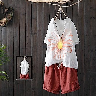 雙層棉紗寬鬆印花短袖白色襯開衫/設計所在Y4006