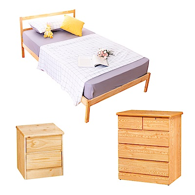 AS-頂級松木單人床架收納三件組(床架+床頭櫃+斗櫃)