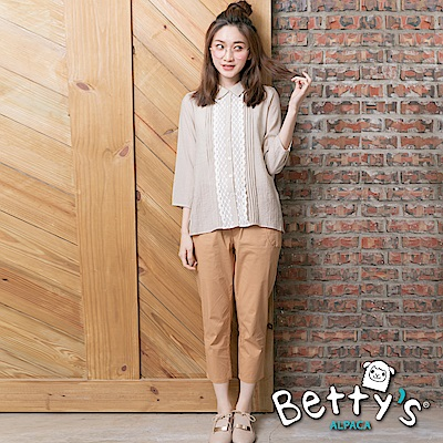 betty's貝蒂思 輕巧鬆緊綁帶休閒褲(駝色)