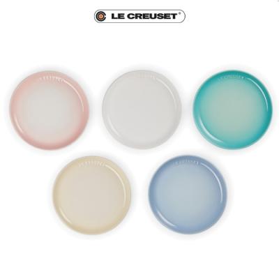 [結帳7折]LE CREUSET瓷器花蕾系列餐盤組22cm 5入(雪花白/沙丘白/淡粉紅/海岸藍/薄荷綠)