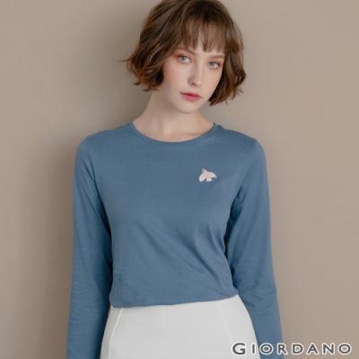 GIORDANO 女裝Natural刺繡長袖圓領T恤 - 08 藍灰色