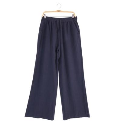 闕蘭絹 藏青色100%蠶絲寬褲- 6622(藍色)
