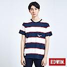 EDWIN 復古條紋口袋 短袖T恤-男-丈青