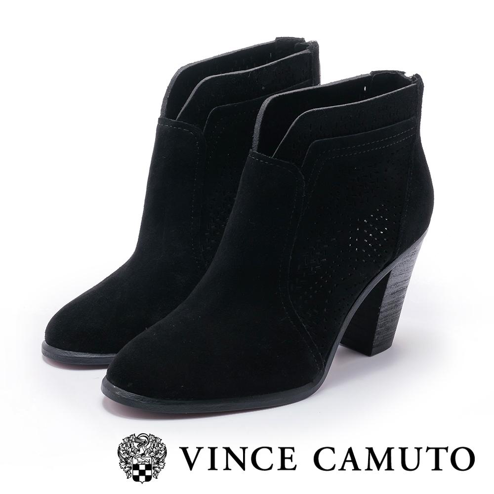 VINCE CAMUTO 麂皮簍空刻紋拼接高跟踝靴-絨黑色