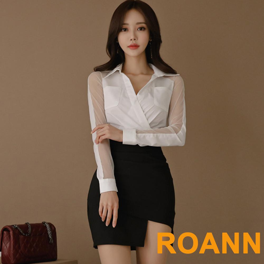 V領網紗襯衫+不規則包臀短裙兩件套 (白+黑色)-ROANN