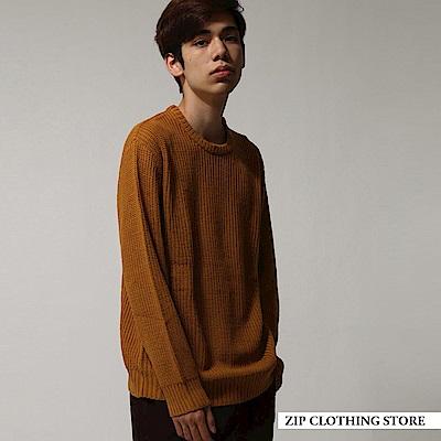畦編寬版圓領針織衫(15色) ZIP日本男裝