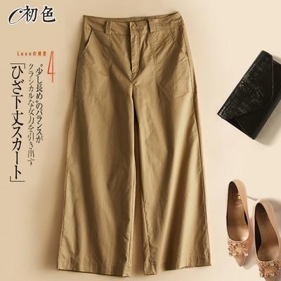 初色  薄款九分休閒寬褲-共2色-(M-2XL可選)