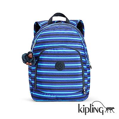Kipling 後背包 藍黑條紋印花-大