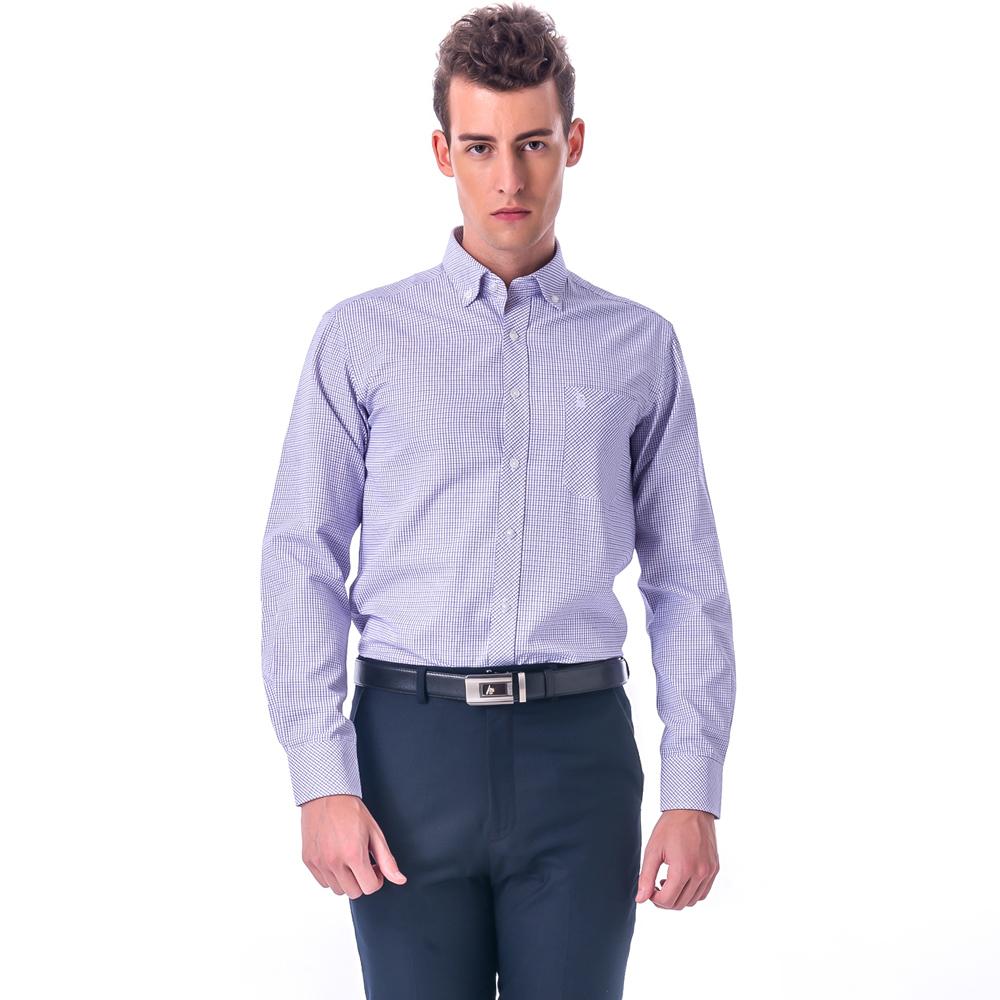 金‧安德森 紫藍格紋釘釦窄版長袖襯衫