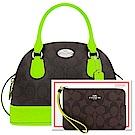 COACH 螢光綠大C PVC手提/斜背兩用包+COACH 蘋果綠色滾邊大C PVC手拿包