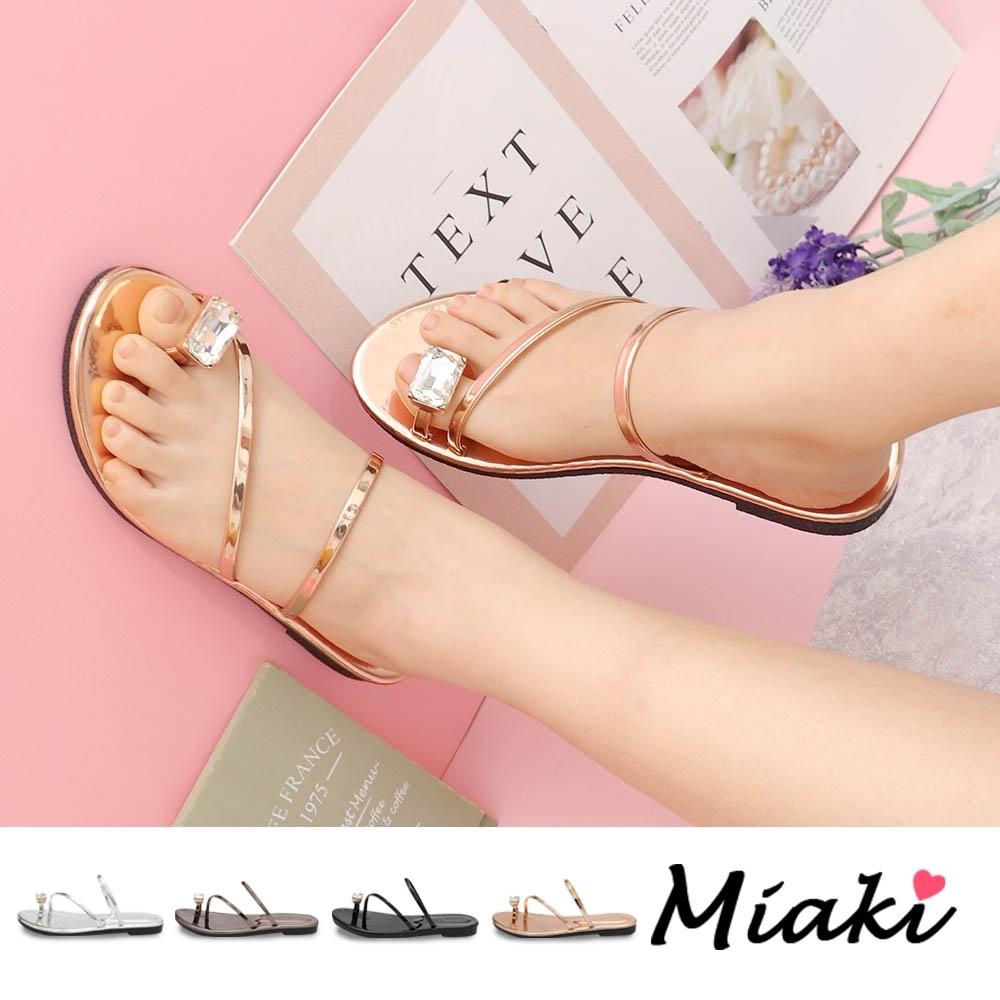 Miaki-涼鞋.金屬感夏日亮眼平底涼鞋 (金色)