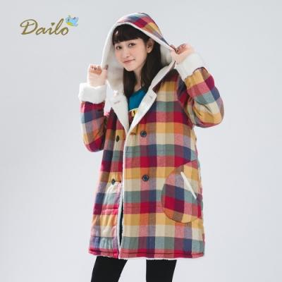 【Dailo】格紋內裡刷毛厚-外套(二色)