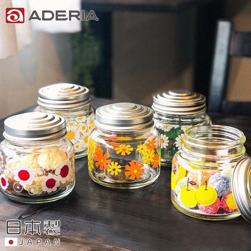 ADERIA 日本製昭和系列復古花朵果醬罐375ML-5入組