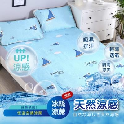 DaoDi全新頂級超涼爽冰絲涼蓆2入組 尺寸雙人床墊x2+枕套x4/組多款任選