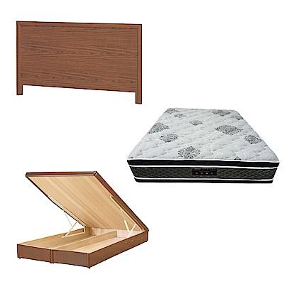 綠活居 梅可6尺雙人加大床台三式組合(床頭片+後掀床底+正四線柔纖獨立筒)五色可選