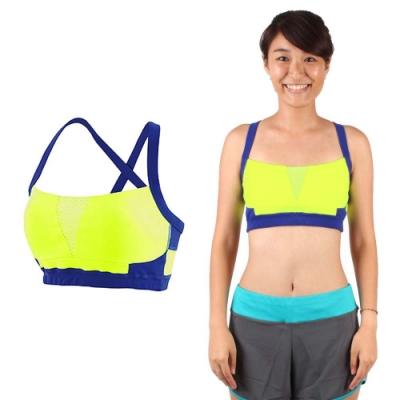 NEW BALANCE 女運動內衣-慢跑 路跑 有氧 瑜珈 運動背心 NB 螢光黃藍