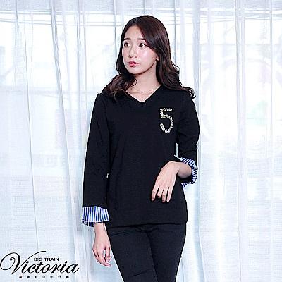 Victoria 異材質拼接V領長袖T-女-黑