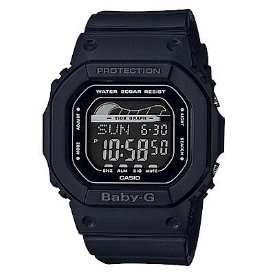 BABY-G復刻經典衝浪板海灘活動設計潮汐月相休閒錶(BLX-560-1)黑40mm