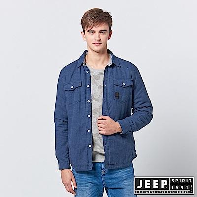 JEEP 純棉百搭襯衫式外套-深藍