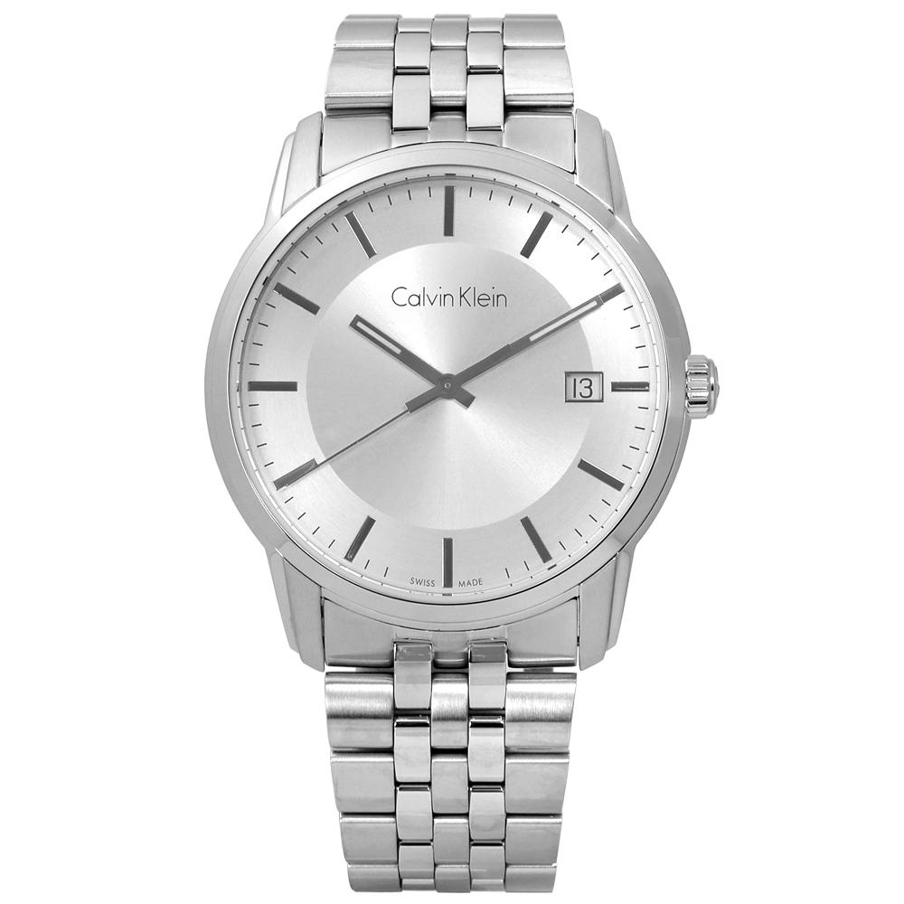 CK 典藏品味 日期 不鏽鋼手錶-銀色/41mm