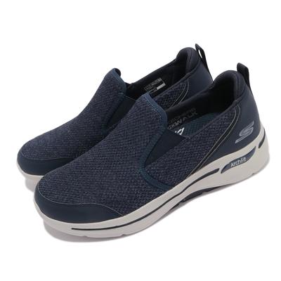 Skechers 休閒鞋 Go Walk Arch Fit 男鞋 專利鞋墊 避震 緩衝 支撐 穩定 套入式 藍 灰 216183NVY
