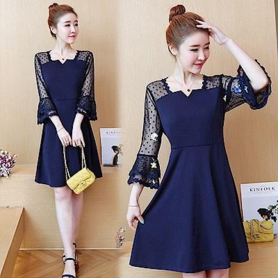 【韓國K.W.】方領透視袖型美感洋裝