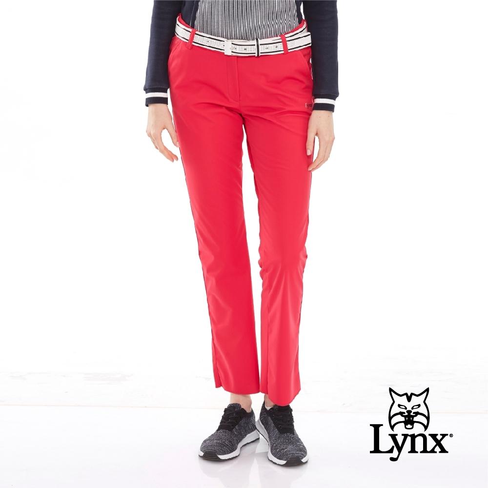 【Lynx Golf】女款透氣防水防風保暖幾何印花配色運動長褲-桃紅色