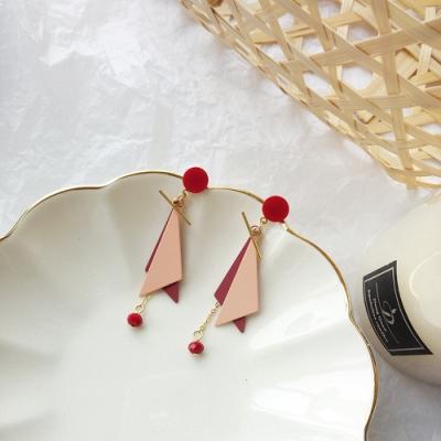 梨花HaNA 無耳洞/耳針款韓國品味時髦撞色三角綴小晶珠耳環