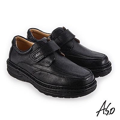 A.S.O 手縫氣墊 高彈力抗壓縮休閒鞋 黑