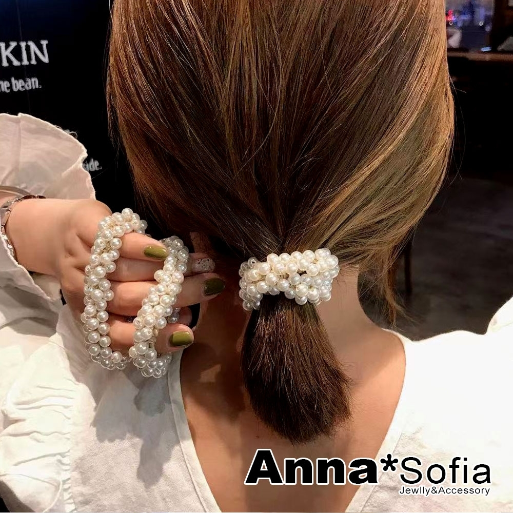 【3件480】AnnaSofia 繁珠金線繞 純手工彈性髮束髮圈髮繩(米黃系)