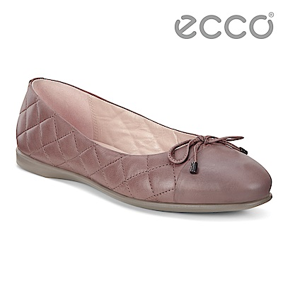 ECCO INCISE ENCHANT細緻菱格素色平底娃娃鞋 女-裸粉色