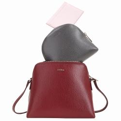 FURLA Boheme 附化妝包x卡片夾牛皮斜背包(暗紅色)