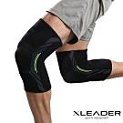 Leader X 3D彈力針織 透氣加壓運動護膝腿套 黑綠 2只入