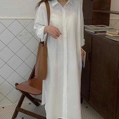 【KISSDIAMOND】純色休閒親膚襯衫洋裝(KDD-1845)