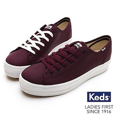 Keds TRIPLE KICK 韓系厚底皮革休閒鞋-酒紅