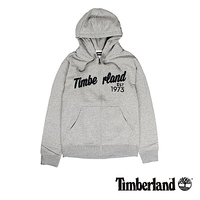 Timberland 男款灰色拉鍊連帽運動衫