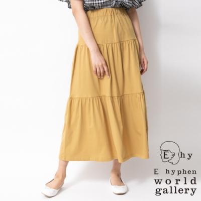 E hyphen 分層式素面純棉長裙