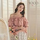 東京著衣-YOCO 優雅柔美多層次荷葉領一字領上衣-S.M.L-(共二色)