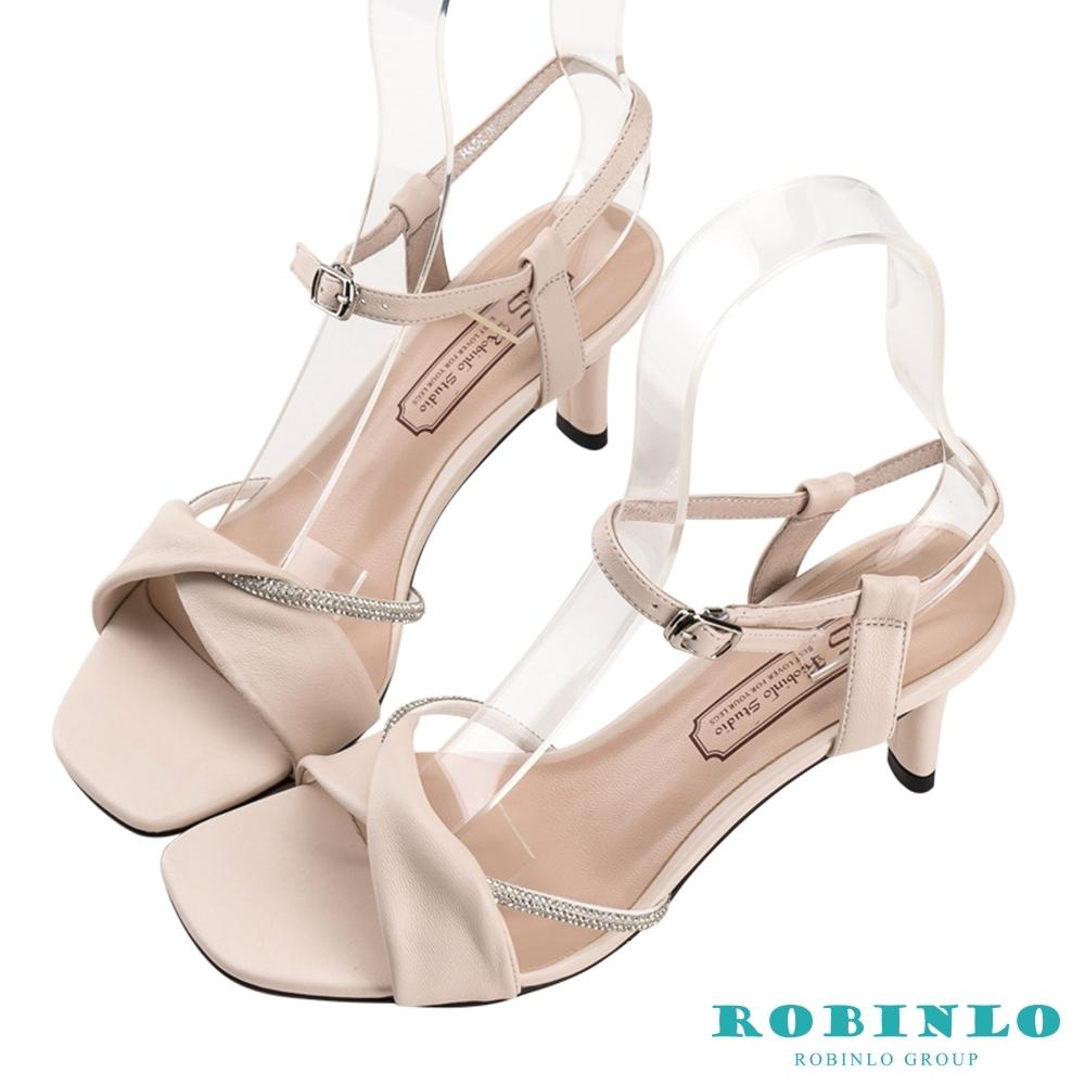 Robinlo魅力閃鑽扭結繫踝高跟涼鞋 米白色
