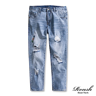 Roush 彩色刺繡刷白破壞<b>9</b>分牛仔褲