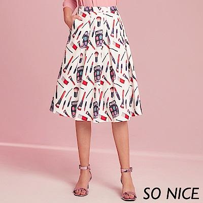SO NICE俏麗印花設計過膝裙